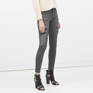Zara Z1975 Wax Coated Moto Skinny Ankle Jeans Sz 4